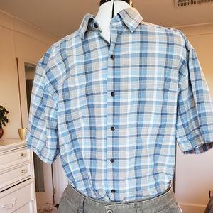 Quiksilver men's s/s plaid casual shirt size XL